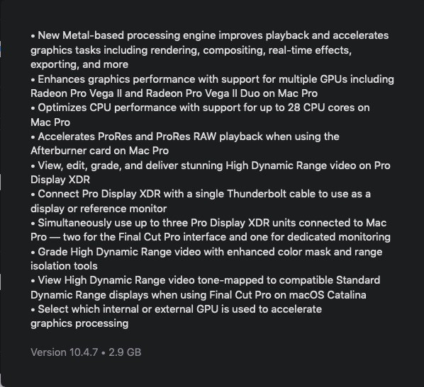 Release notes for Final Cut Pro detailing Mac Pro specific upgrades.