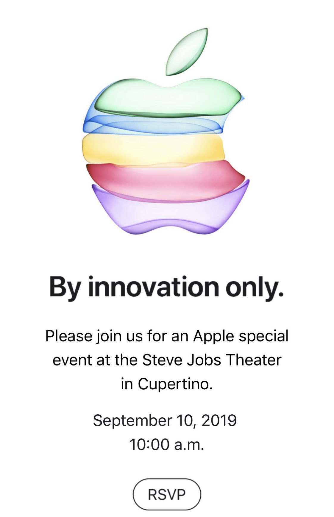 "Apple Sept. 10 ""By innovation only."" Invitation"